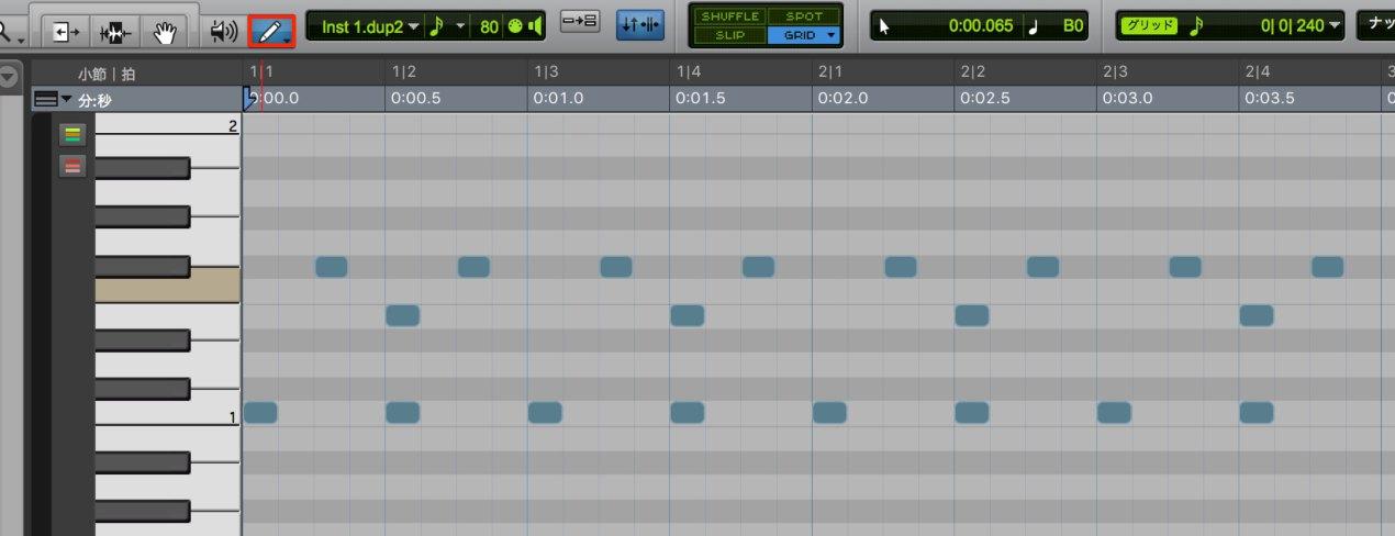 MIDIエディタでの打ち込み