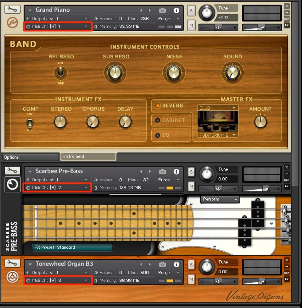 複数の音色を立ち上げます。ここでは3つの楽器を立ち上げました。