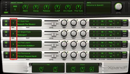 1つのソフトシンセで複数の音色使用する