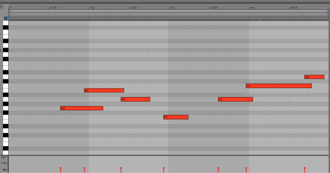 レコーディングされた「MIDIノート」