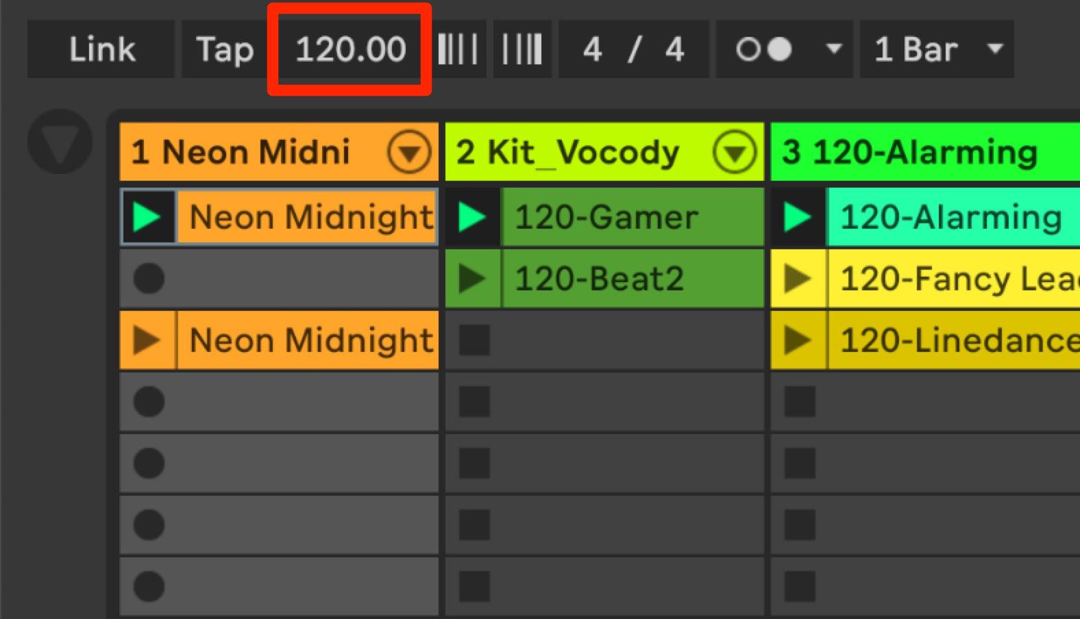 Ableton Live_8_テンポの変更1