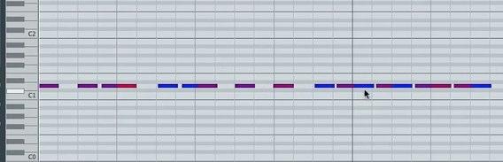 MIDIノートの変換後
