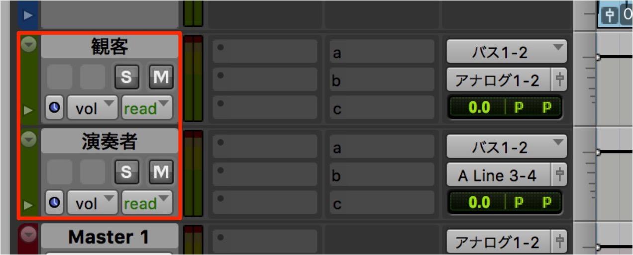 「観客(Analog 1-2)」「演奏者(Analog 3-4)」としました。