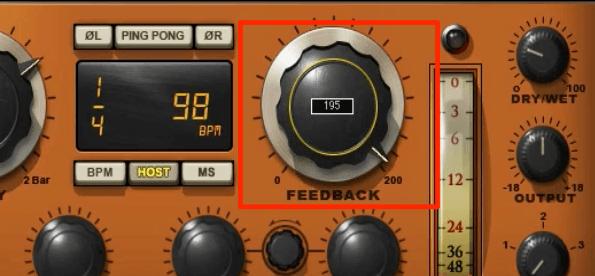 ディレイ_フィードバックを使用したアレンジ
