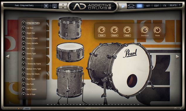 「Addictive Drums 2」1_プリセットとキット選択