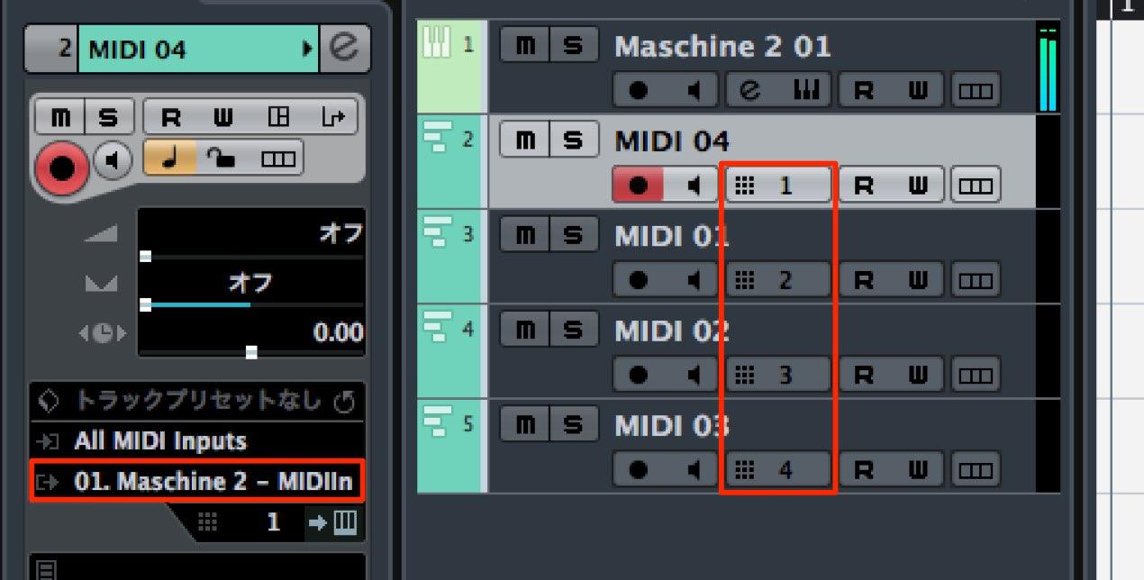MIDIトラックの割り当て