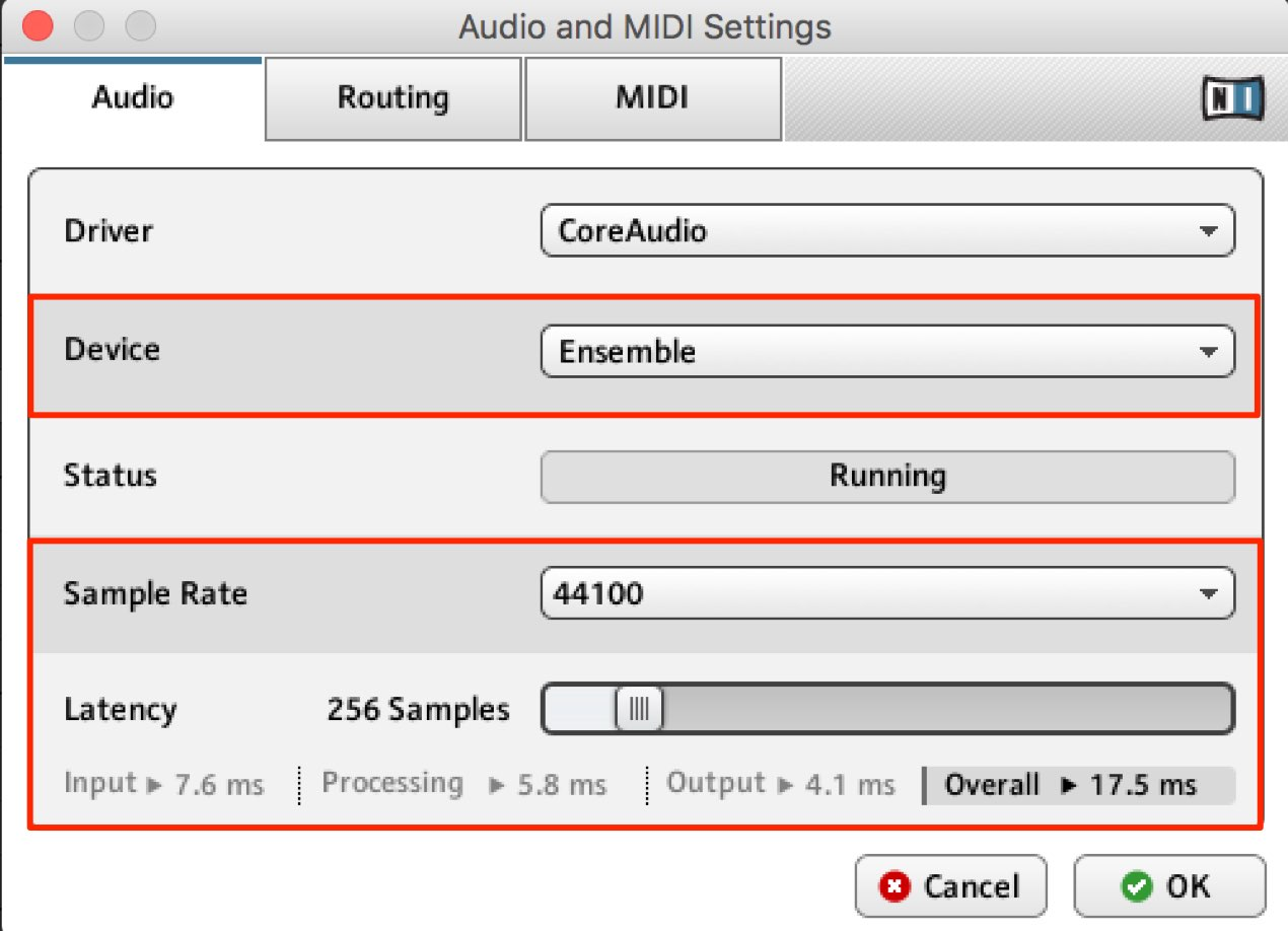Audio and MIDI Settings