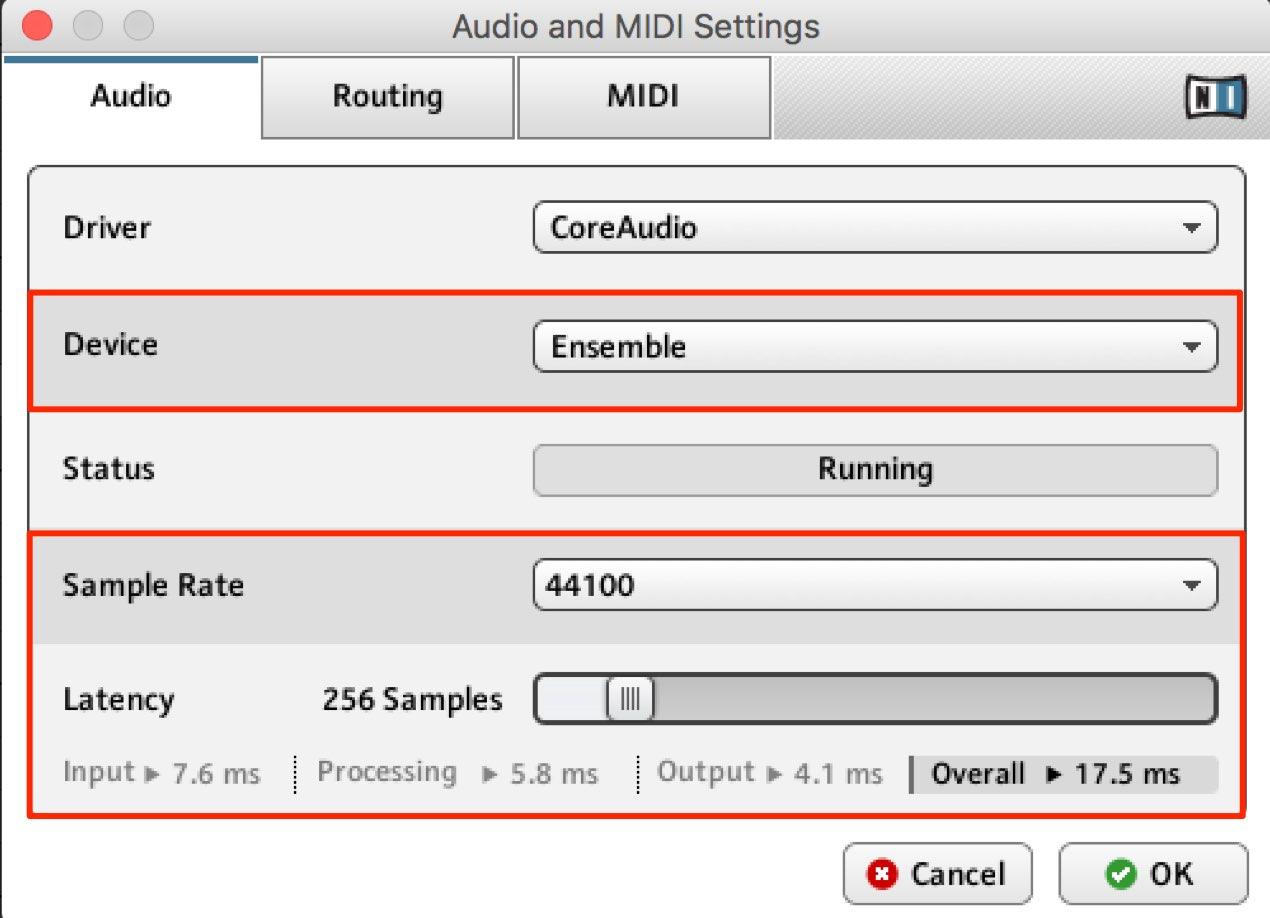 Audio and MIDI Settings