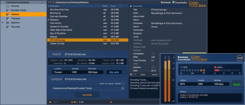 MP3 / AAC 規格に合わせて楽曲音量を最適化する SONNOX : Codec
