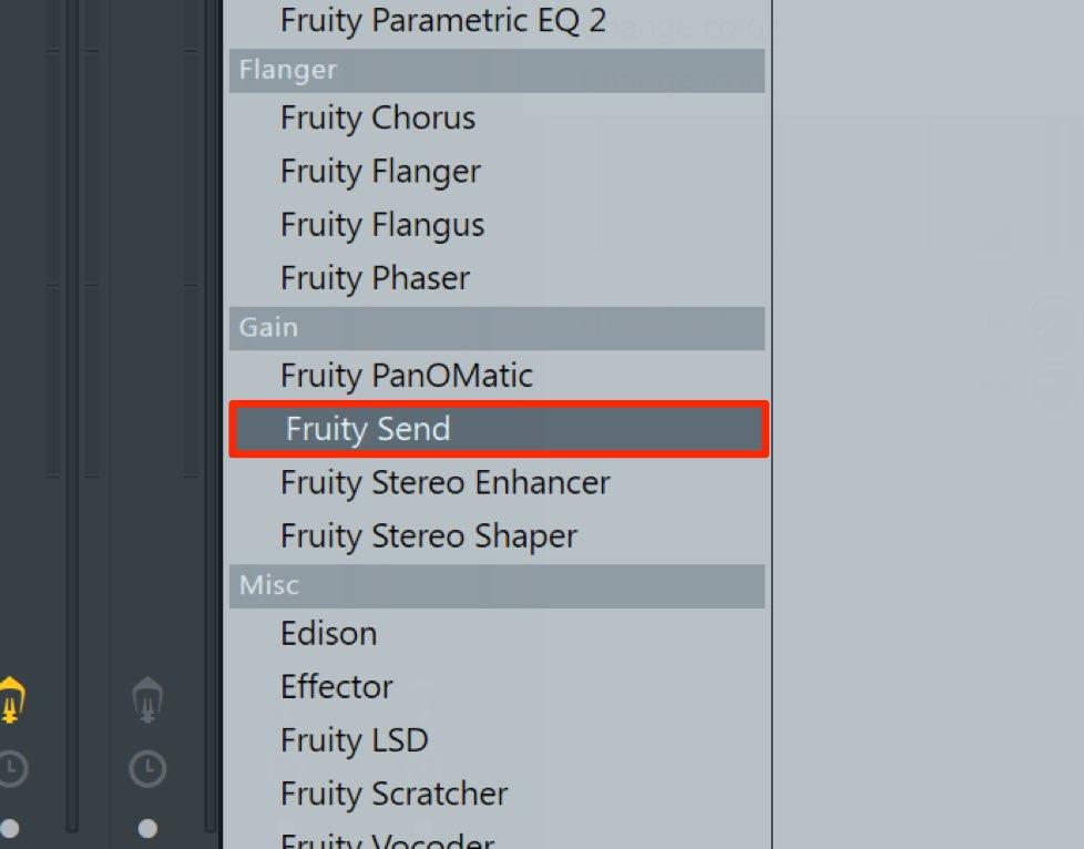 センドリターンのサウンドをプリフェーダーで送る FL Studio