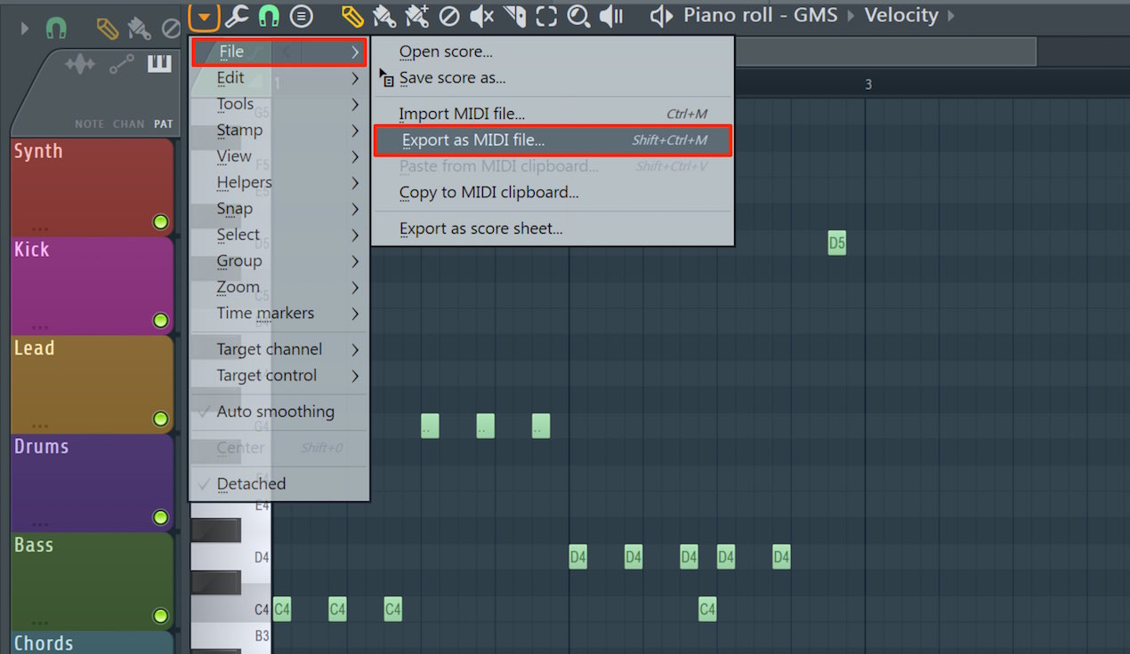 Export as MIDI file