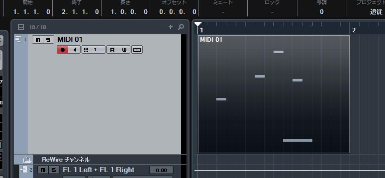 MIDI打ち込み後