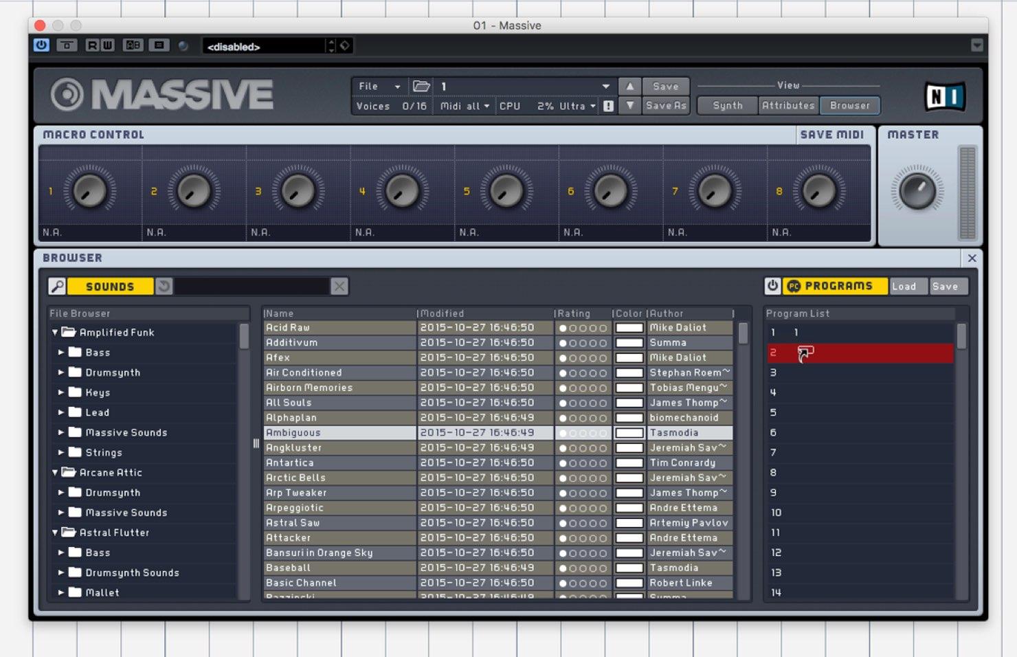 1つのMassiveで最大128の音色を切り替える