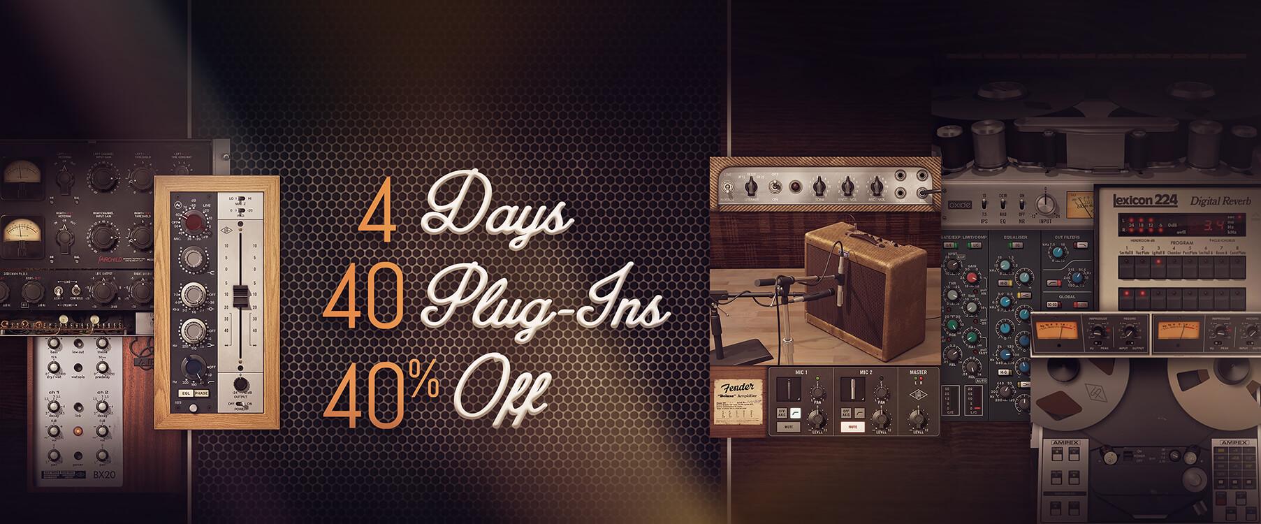 Universal Audio 40プラグインが40%OFF