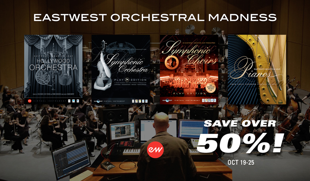 人気のオーケストラ音源「Hollywood Orchestra Diamond」などが50%オフ!EastWest Orchestral Madness