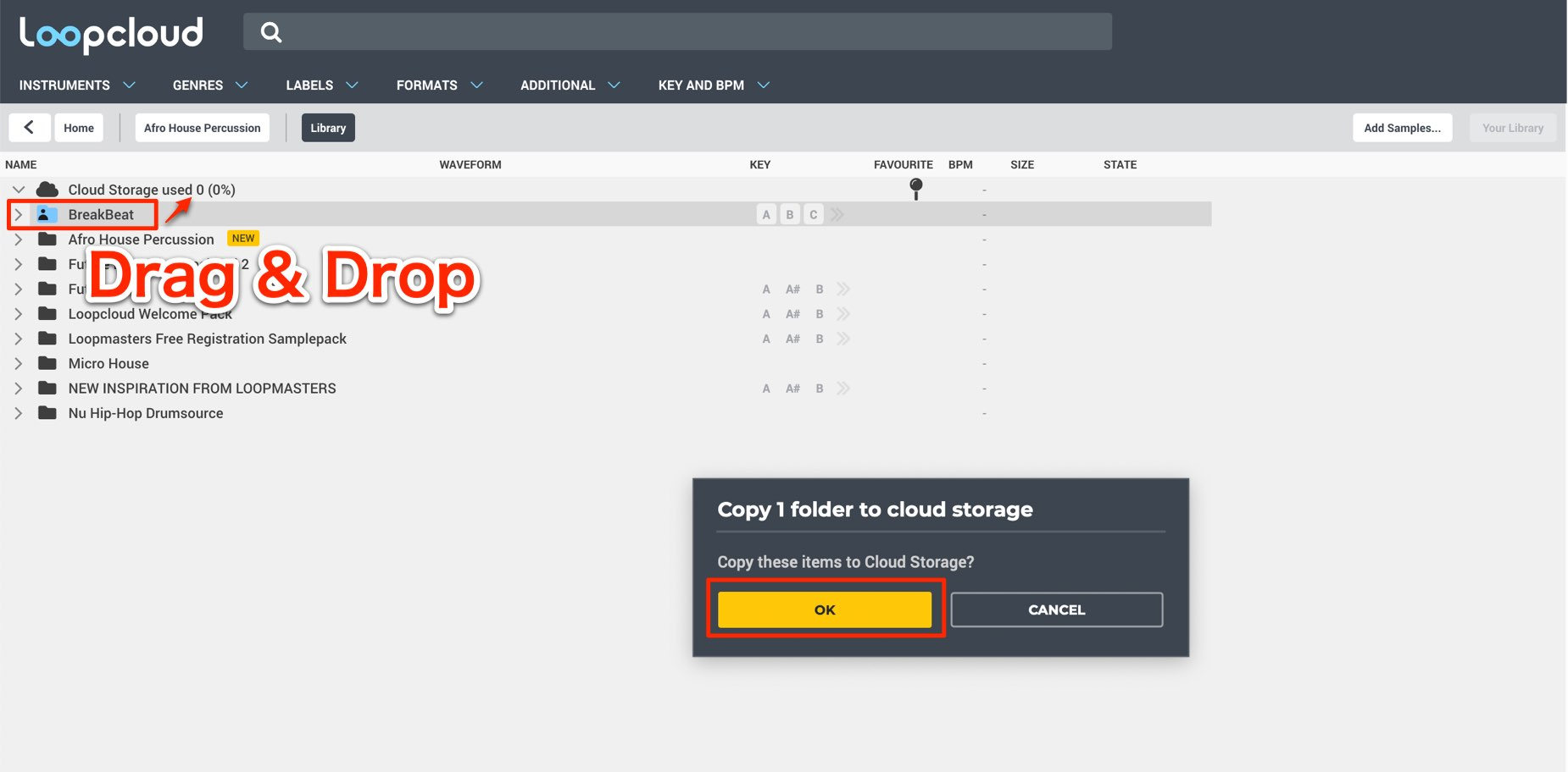 Copy 1 folder to cloud storage
