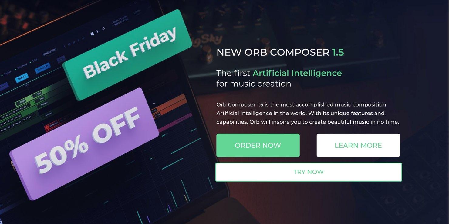 【50%OFF】人工知能の作曲支援ソフト「Orb Composer」ブラックフライデーセール中!