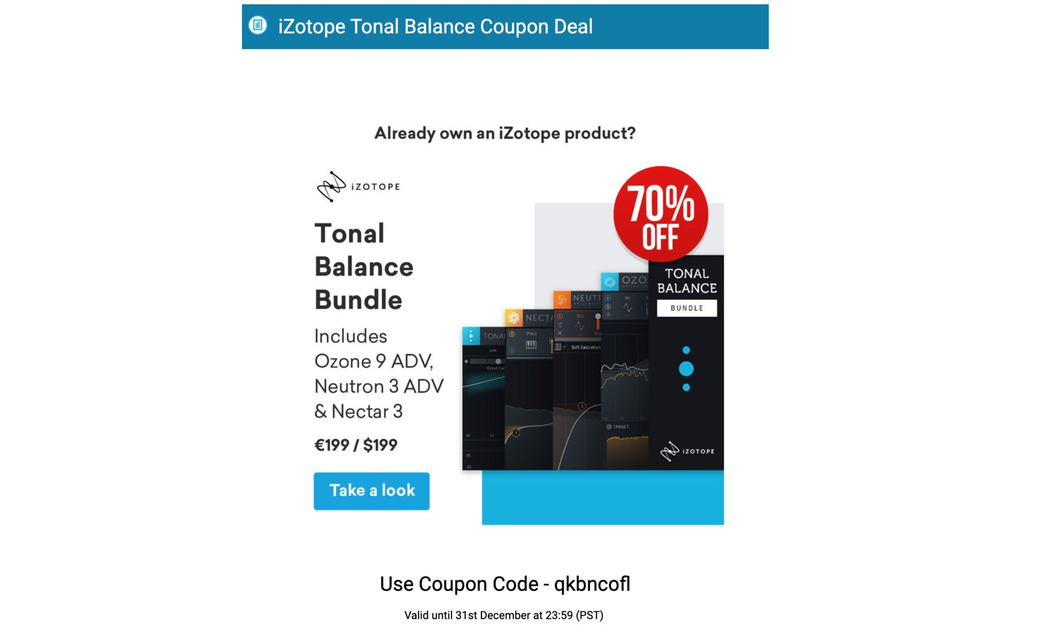 iZotope Tonal Balance Coupon Deal