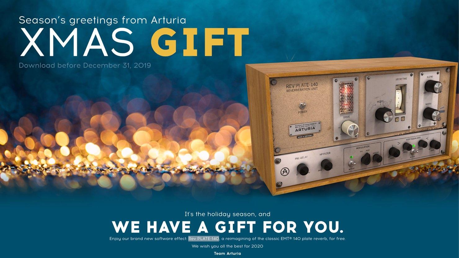 【無料】Arturiaからのクリスマスプレゼント!  ビンテージリバーブの名機をシミュレートした「Rev PLATE-140」