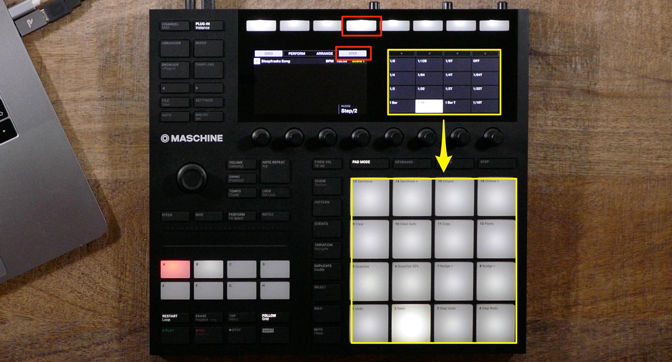 クオンタイズ音価の選択 Maschine_MK3