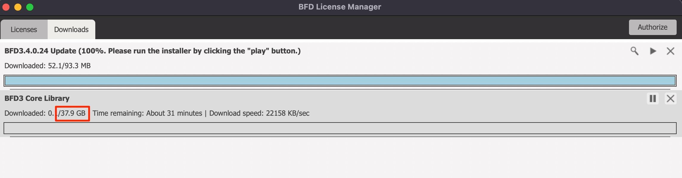 BFD_License_Manager ファイル容量