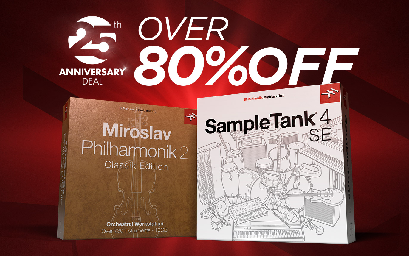 【83%OFF】IK Multimedia「Miroslav Philharmonik 2 CE」「SampleTank 4 SE」が3,250円!