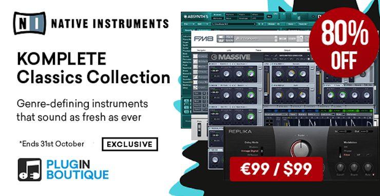 【80%OFF】Native Instrumentsの3種のレジェンドシンセ+ディレイをバンドルしたKomplete Classics Collectionがセール中!